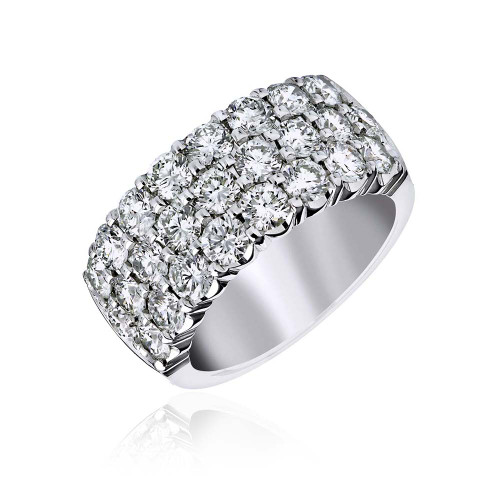 18K White Gold Large Statement 3 Row Diamond Ring
