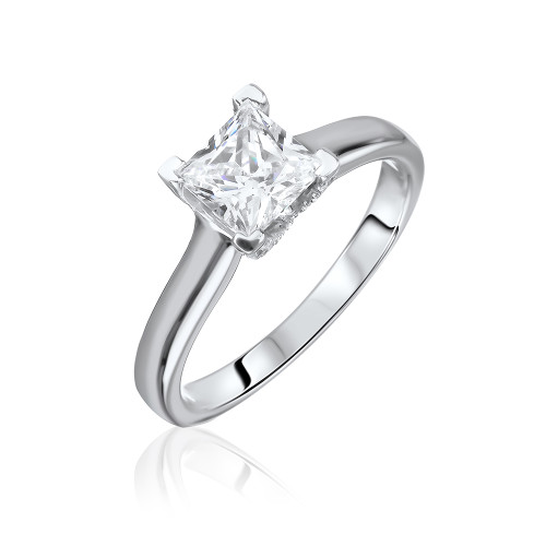 18K White Gold Princess Solitaire Engagement Ring