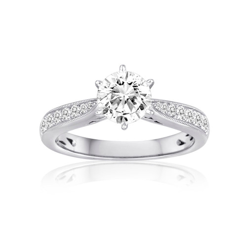 18K White Gold Cathedral Engagement Ring with Diamond Accents and Milgrain Detail