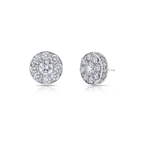 18K White Gold Medium Cluster Diamond Earrings