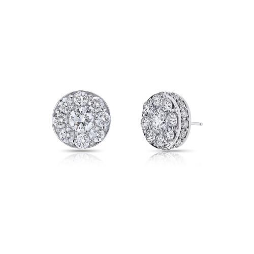 18K White Gold Medium Cluster Diamond Earrings