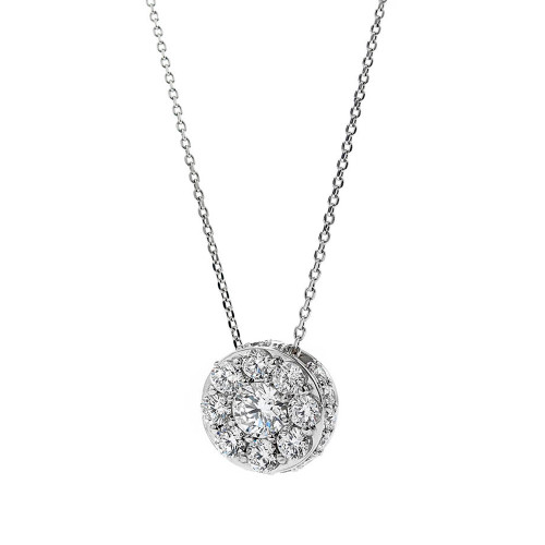 18K White Gold Large Diamond Cluster Pendant