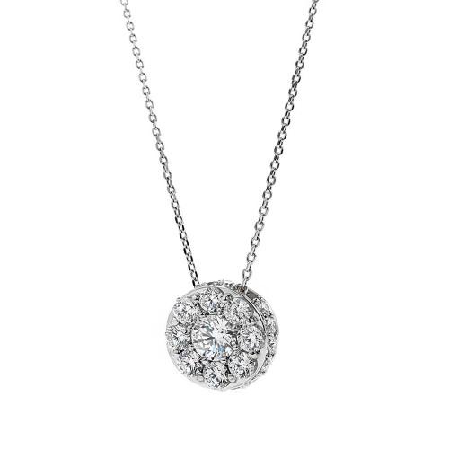 18K White Gold Large Diamond Cluster Pendant