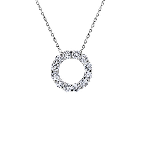 18K White Gold Eternity Circle Diamond Pendant