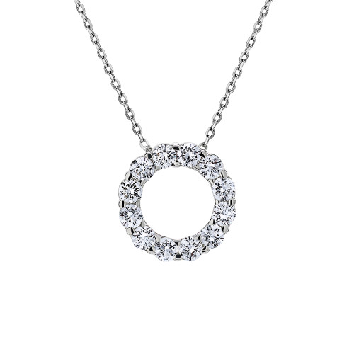 18K White Gold Large Eternity Circle Diamond Pendant