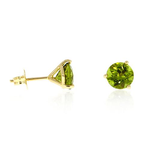 14K Yellow Gold Round Peridot Stud Earrings
