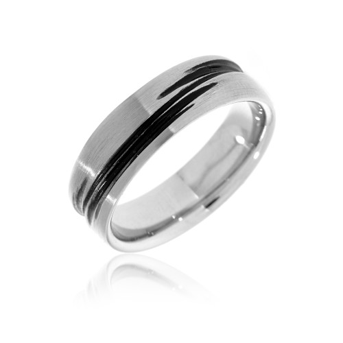 Textured Stainless Steel Mens Wedding Ring