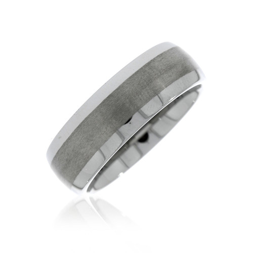 Tungsten Satin Center Mens Wedding Ring