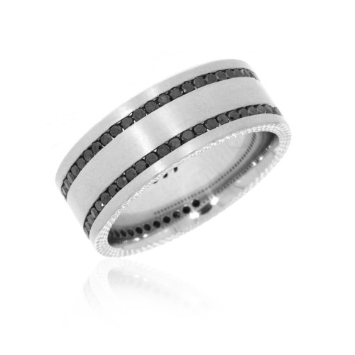 14K White Gold Satin Finish Wedding Ring With Black Diamond Accents