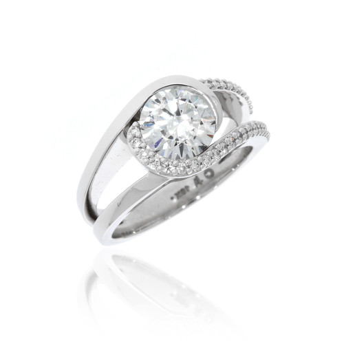 18K White Gold Reflection Engagement Ring With Diamond Accents