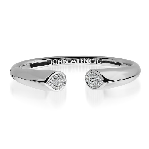"14K White Gold ""Gemini"" Hinge Bracelet with Diamond Accents"