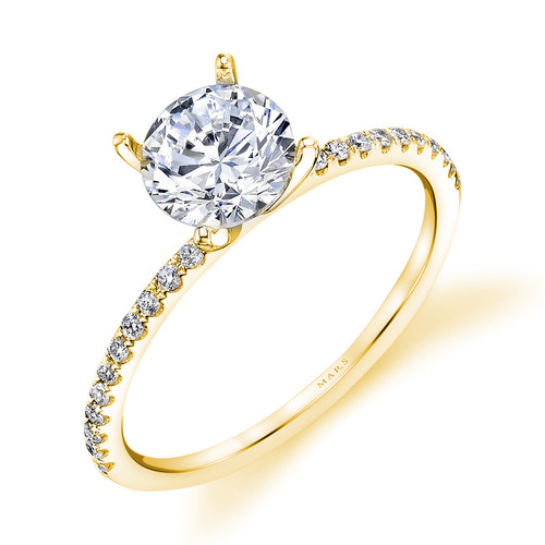 14K Yellow Gold Delicate Engagement Ring With Diamond Accents