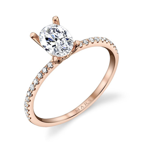 14K Rose Gold Delicate Engagement Ring With Diamond Accents