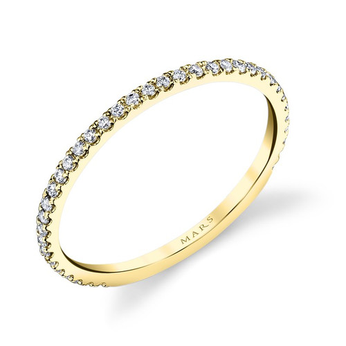 14K Yellow Gold Delicate Diamond Wedding Ring