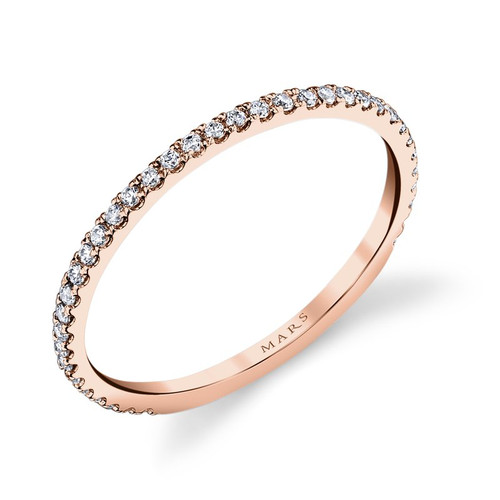 14K Rose Gold Delicate Diamond Wedding Ring