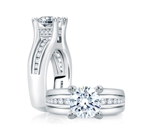 18K White Gold Channel Set Engagement Ring with Diamond Accents