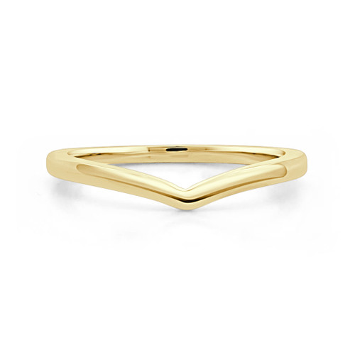 14K Yellow Gold V Shaped Stackable Wedding Ring