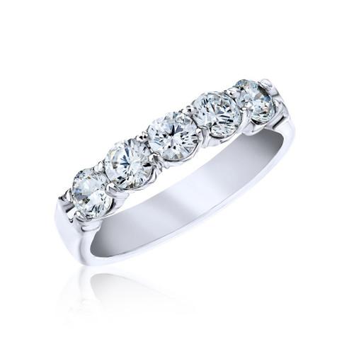 18K White Gold Shared Prong Diamond Ring