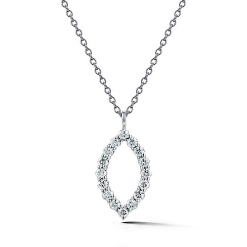 18K White Gold and Diamond Marquise Pendant