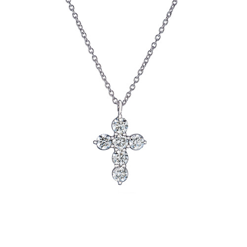 18K White Gold and Diamond Small Cross Pendant