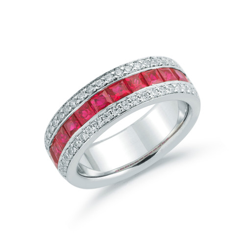 18K White Gold and Ruby Ring with Diamond Accents