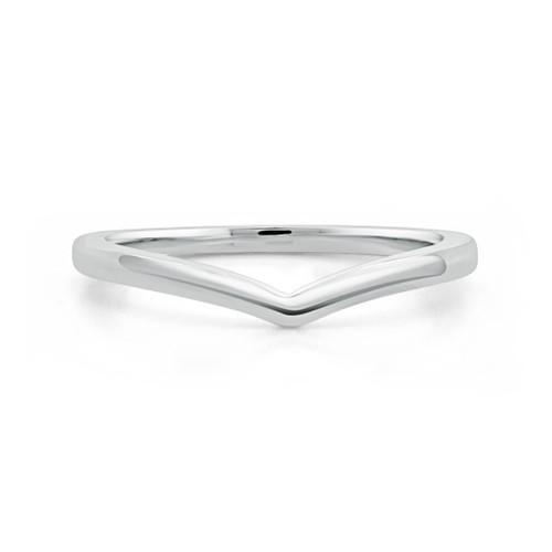 14K White Gold V Shaped Stackable Wedding Ring