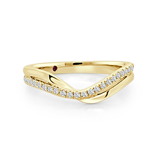 14K Yellow Gold V Shaped Stackable Wedding Ring With Diamond Accents