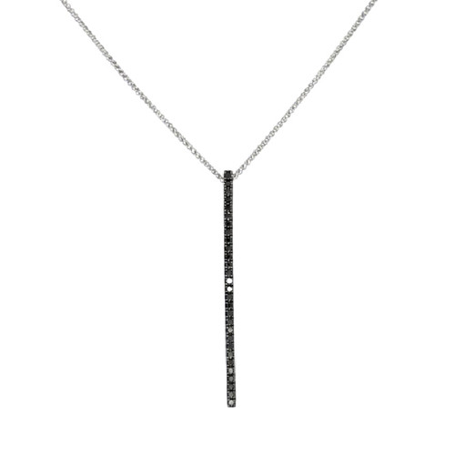 14K White Gold Black Diamond Bar Pendant