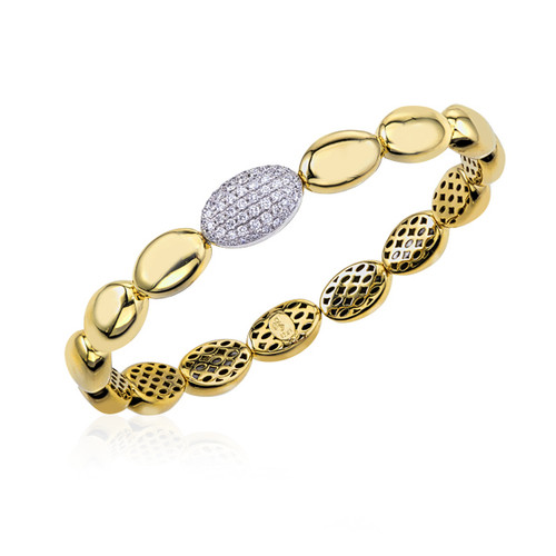 18K Yellow Gold Flexible Ovals Bracelet With Diamond Accents