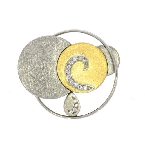 18K Yellow Gold, Platinum and Stainless Steel Circular Vario Key Centerpiece Clasp