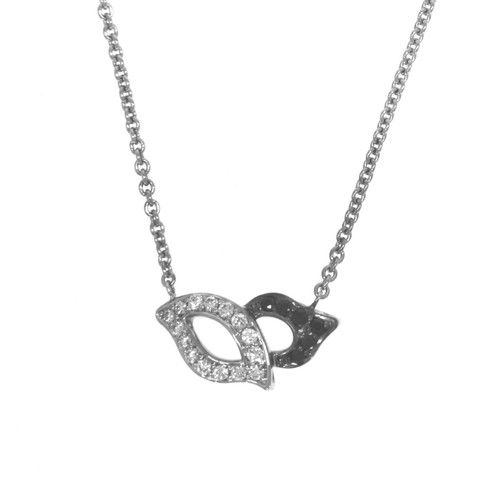 18K White Gold Black and White Diamond Masquerade Necklace