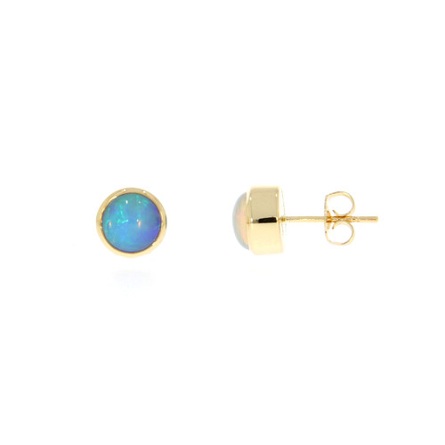 14K Yellow Gold Round Ethiopian Opal Solitaire Earrings