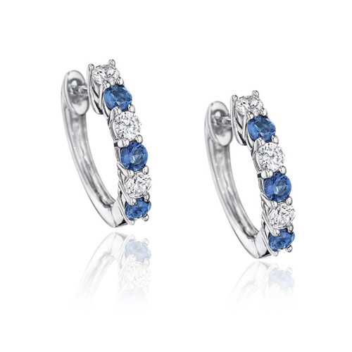 14K White Gold Blue Sapphire and Diamond Huggie Earrings