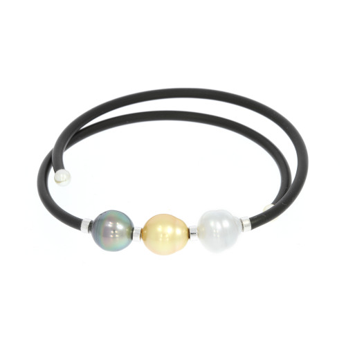Sterling Silver Memory Wrap 3 Pearl Bracelet With Pearl Accents