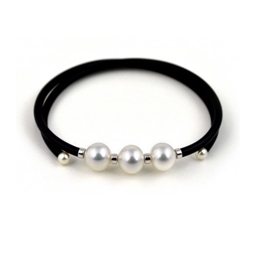 Sterling Silver Memory Wrap 3 White Baroque Pearl Bracelet With Pearl Accents