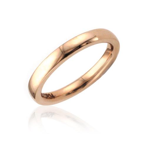 14K Rose Gold 2mm Domed Plain Wedding Band