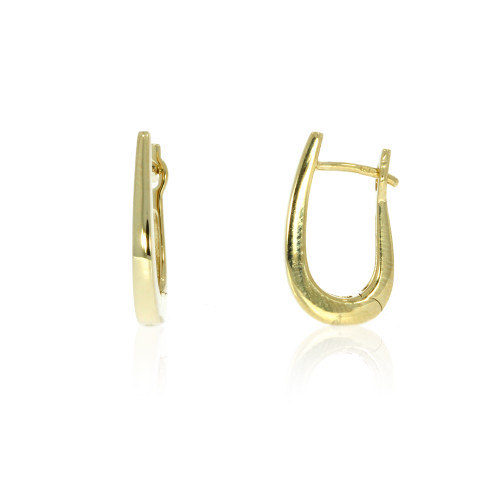 14K Yellow Gold J Curve Hoop Earrings