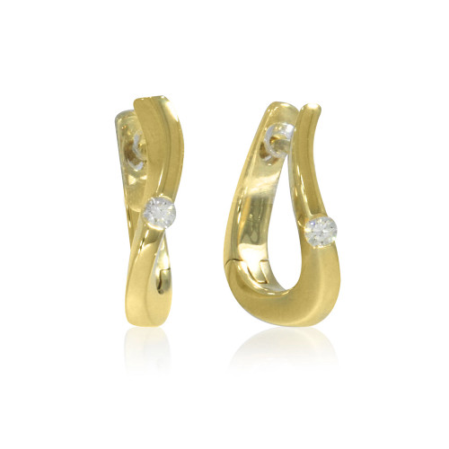 14K Yellow Gold Curved Hoop Earrings With Diamond Accents