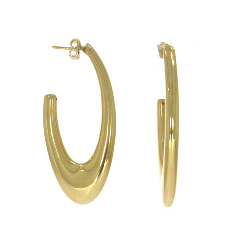 14K Yellow Gold Lightweight Oval Hoop Earrings