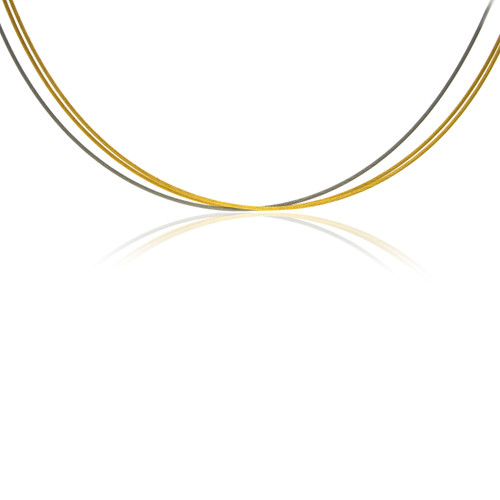 18K Yellow Gold Overlay and Stainless Steel 3 Strand Necklace