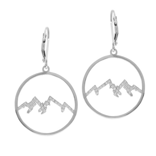 Sterling Silver Round Mountain Earrings With CZ Accents