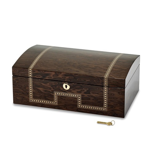 Tiger Eye Veneer With Inlay Jewelry Chest