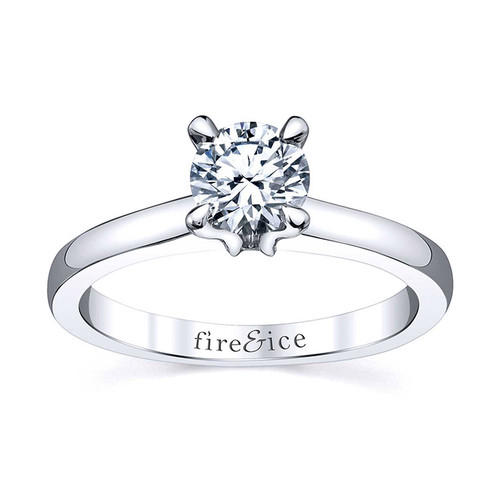 18K White Gold Fire & Ice Diamond Solitaire Engagement Ring