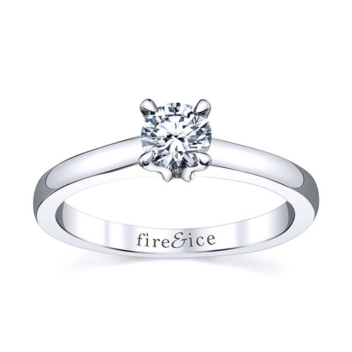 18K White Gold Fire & Ice Petite Diamond Solitaire Engagement Ring