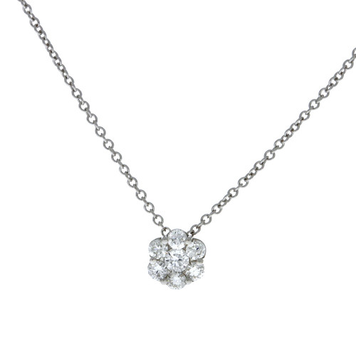 18K White Gold Fire & Ice Small Diamond Cluster Pendant