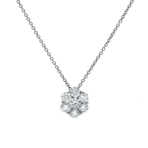 18K White Gold Fire & Ice Medium Diamond Cluster Pendant