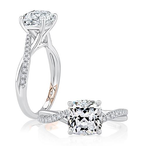 14K White Gold Criss Cross Engagement Ring for 1ct Center Gemstone