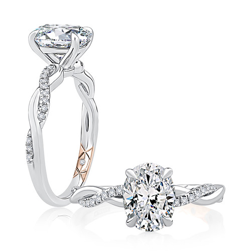 14K White Gold Twist Engagement Ring for 1ct Oval Center Gemstone