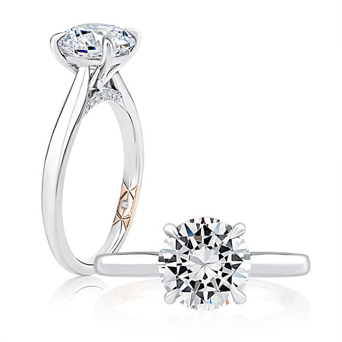 14K White Gold Solitaire Engagement Ring for 0.75ct Center Gemstone