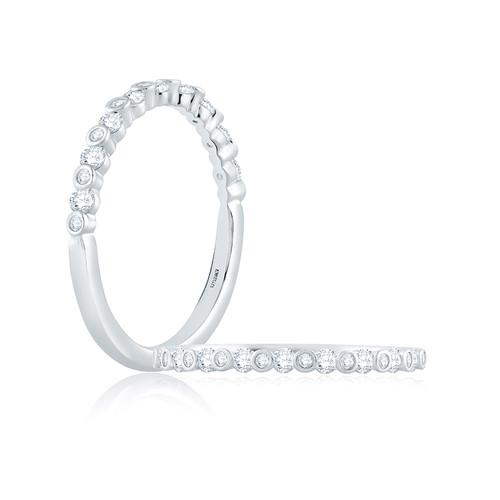 14K White Gold Wedding Ring With Bezel And Channel Set Diamonds